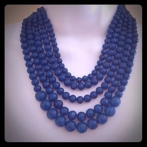 Anne Klein blue 6 strings bead necklace
